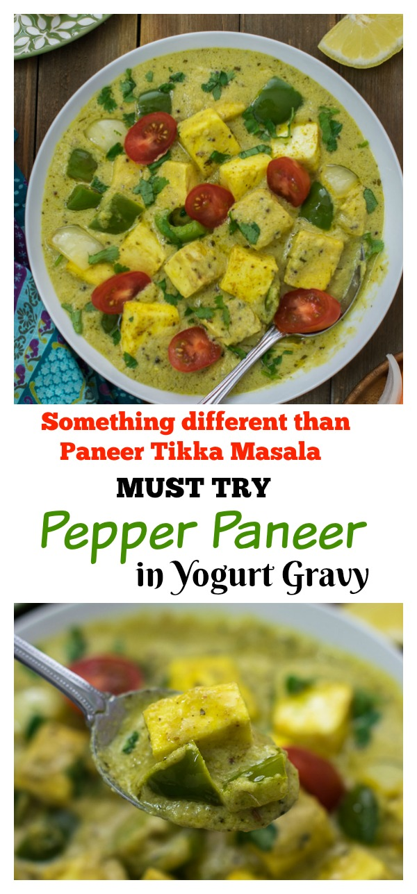 Pepper Paneer in yogurt gravy is a quick easy paneer recipe with gravy. This simple paneer recipe is without tomatoes or heavy cream. A paneer recipe different from kadai paneer or paneer tikka masala. Ready under 20 minutes.