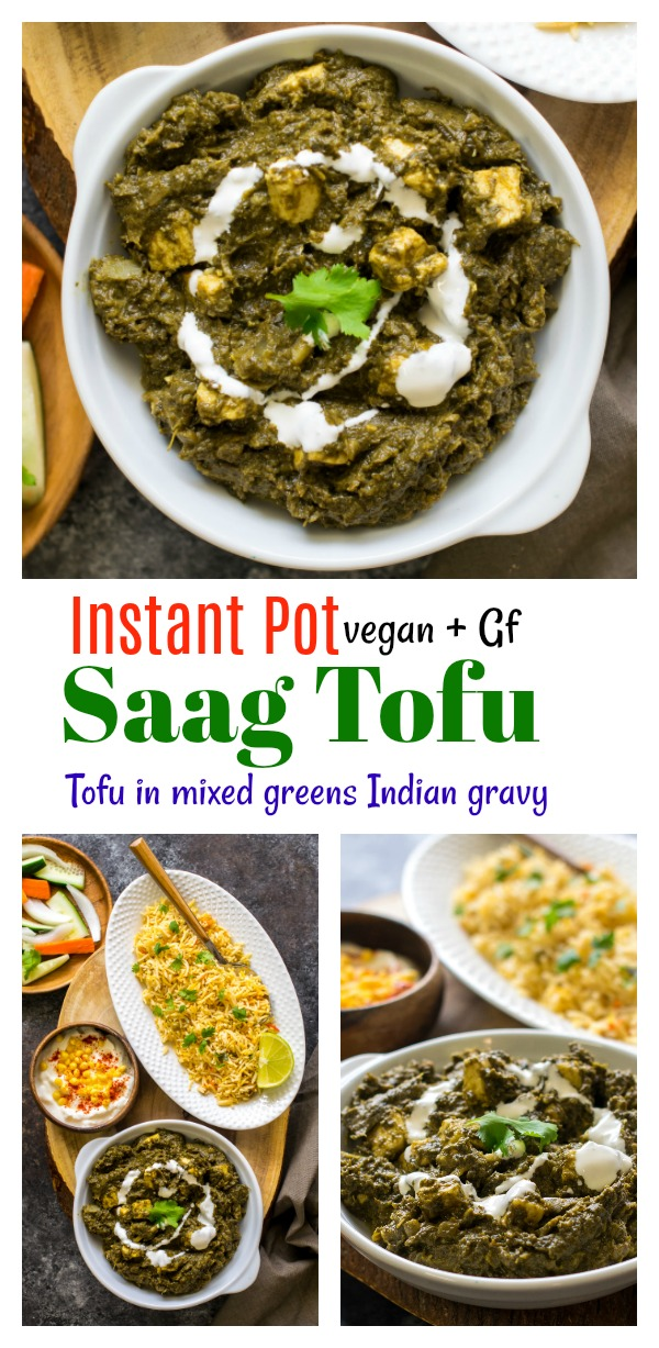 Instant Pot Saag Paneer Tofu (Vegan Spinach mixed greens Indian curry )