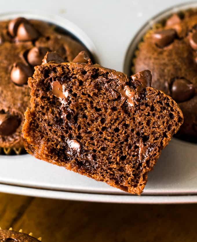 Vegan banana chocolate muffins
