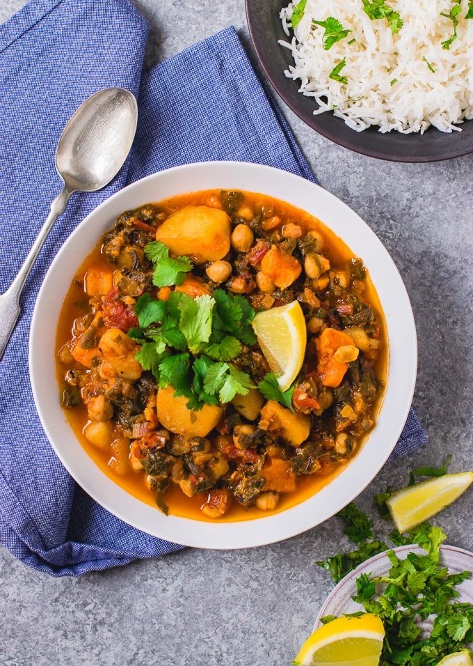 Instant pot Vegan stew ( oil free chickpea vegetable stew)