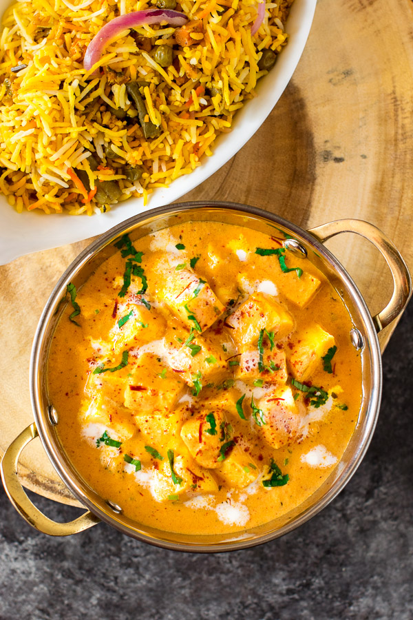 Paneer served with rice.
