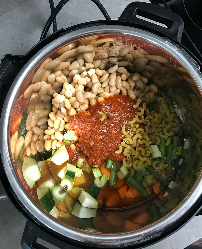 Instant pot minestrone soup ingredients ready to get cooked.