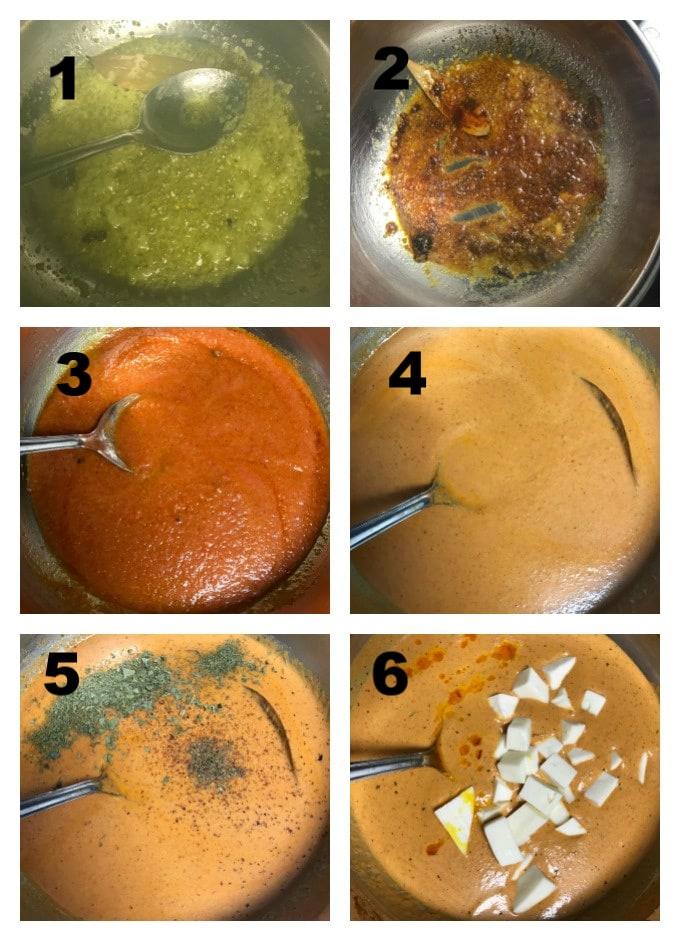Step by step making of Shahi paneer
