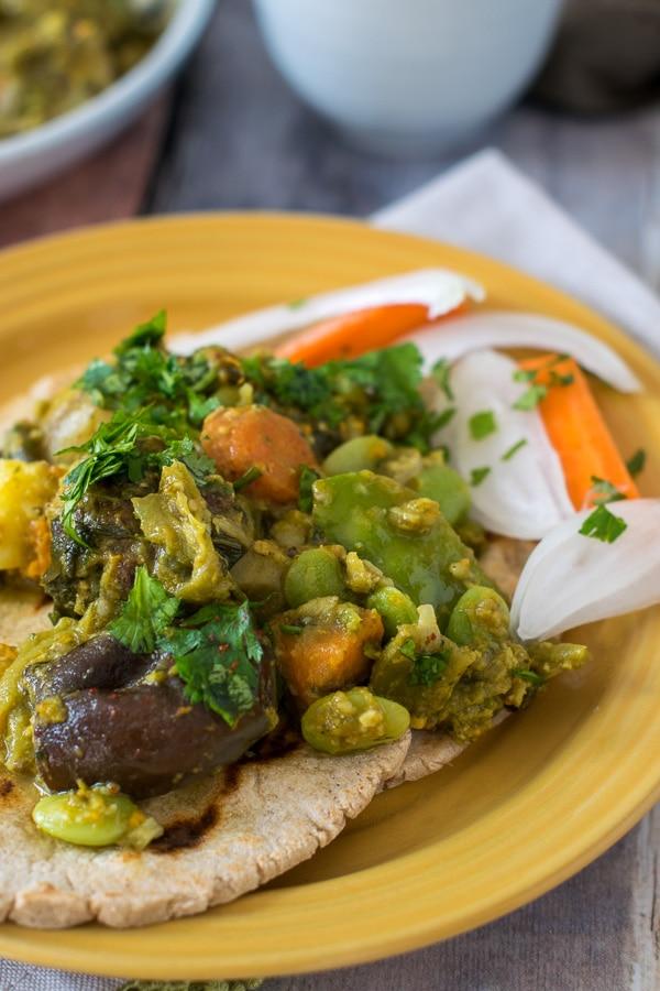 Undhiyu served with Bajra roti