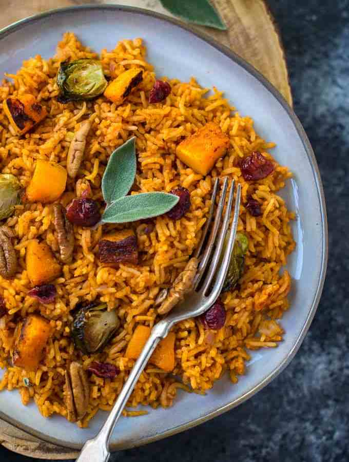 Herbed Tomato Rice with Roasted Butternut Squash & Brussels Sprout