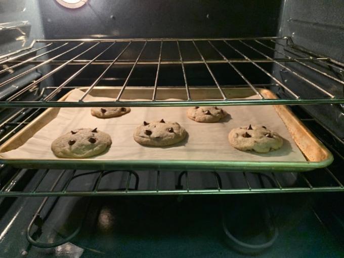 Cookies baking in an oven