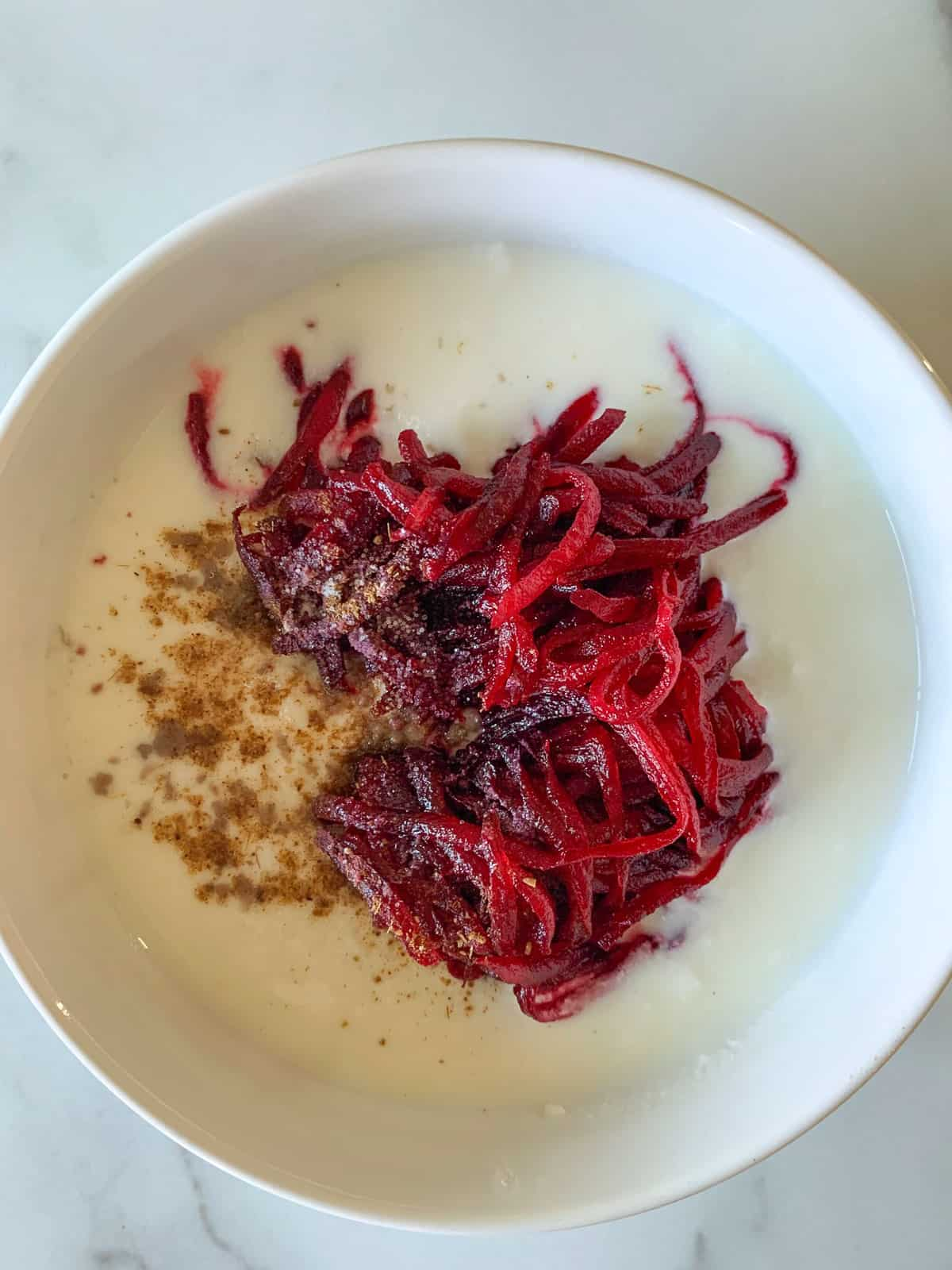 Shredded beets added to the yogurt