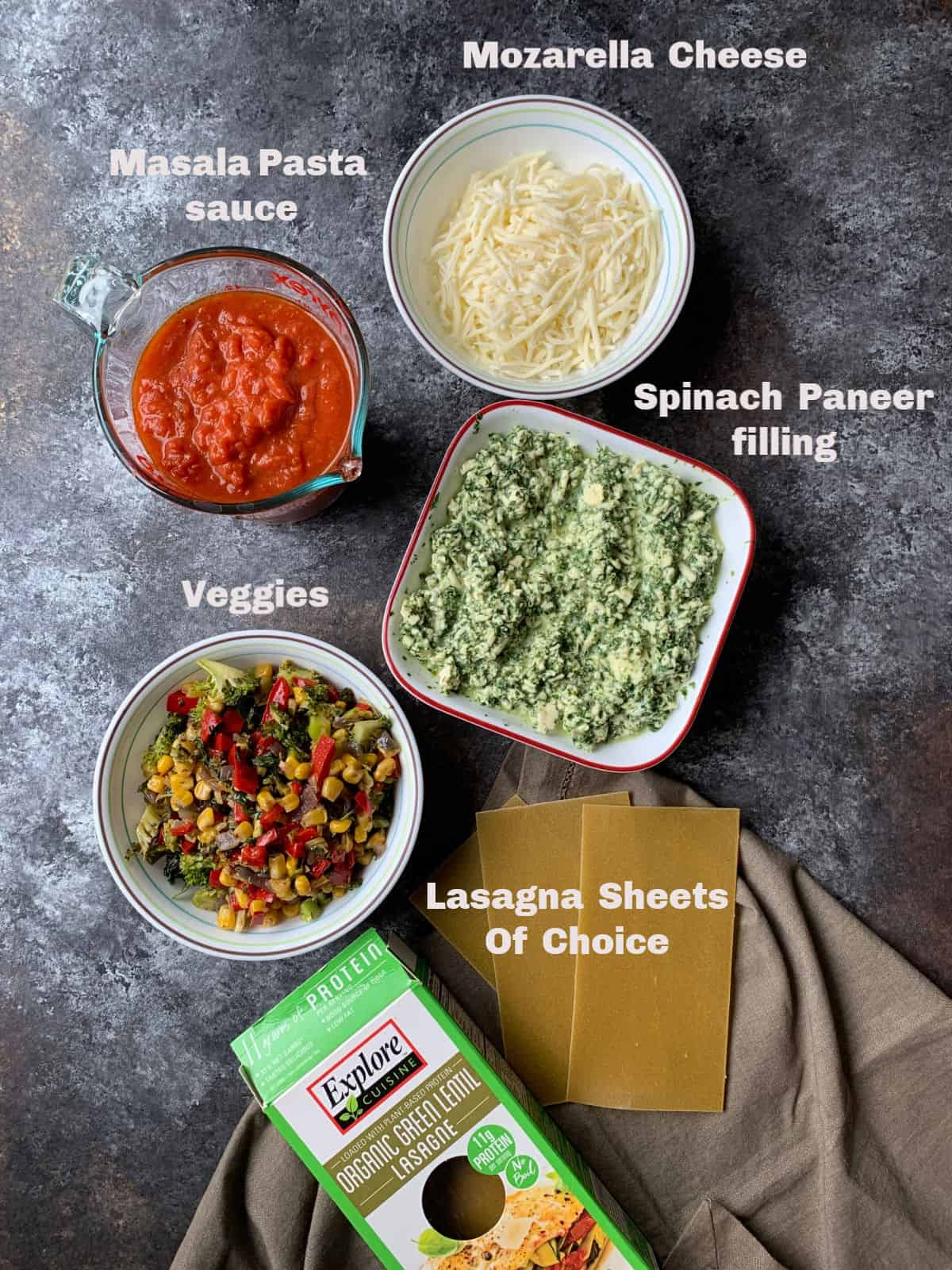 Ingredients to make veggie lasagna