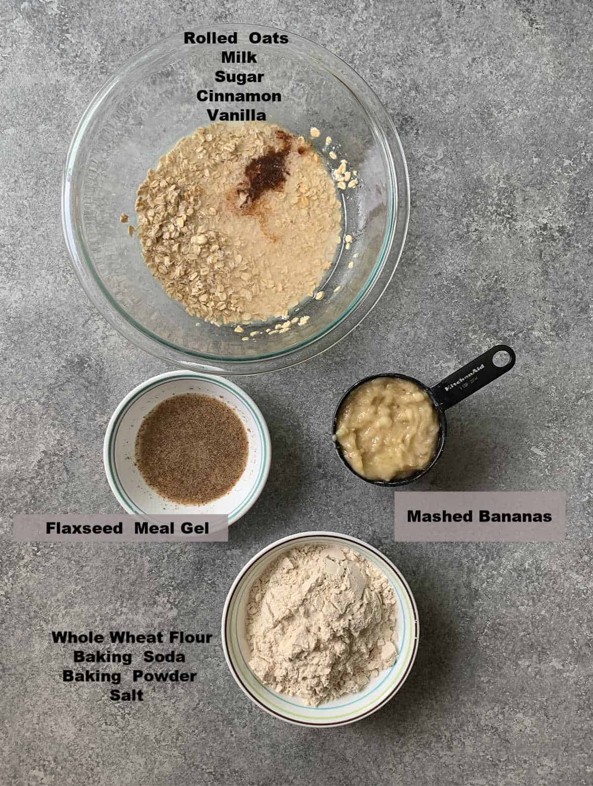 Bowls having ingredients to make vegan banana muffins
