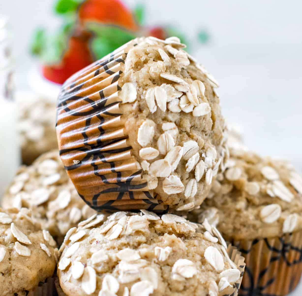 Oatmeal Muffin stacked over other muffins
