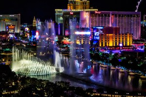 Las Vegas, the Strip, lights, night, city, fountains