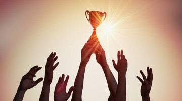 team, trophy, win, hands