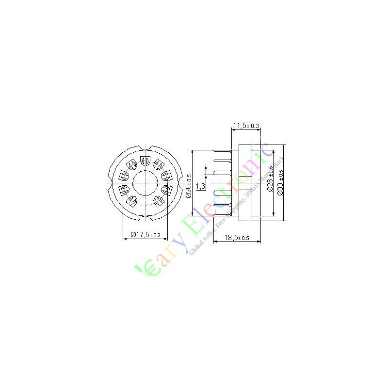 9pin PCB Ceramic Vacuum Tube Sockets Valve Base El519