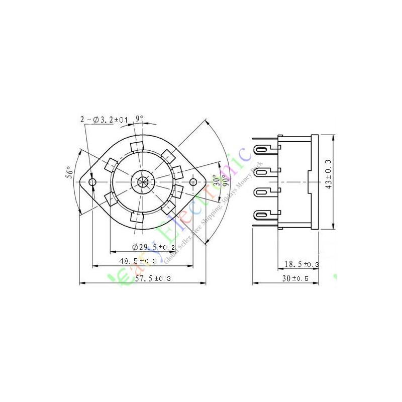 10pin Vacuum Tube Socket Valve Base El156 El12 Eyy13 Ef14