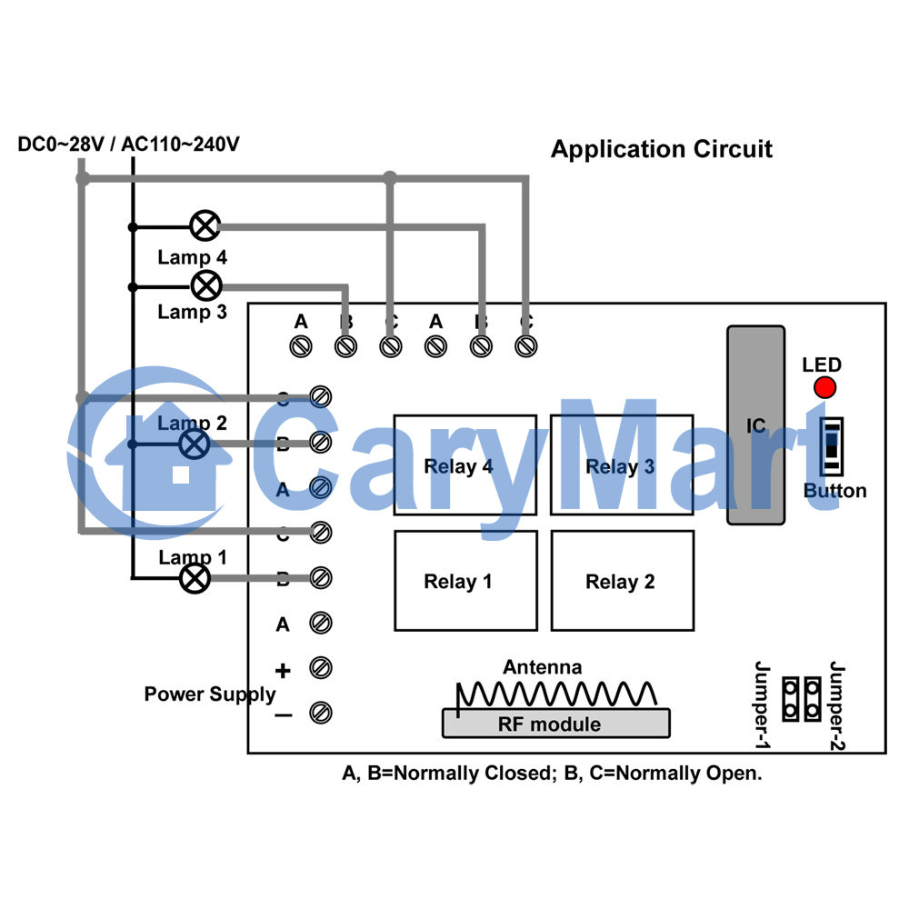 medium resolution of 4 channel dc rf wireless remote control radio transmitter receiver 4 channel momentary remote wiring diagram