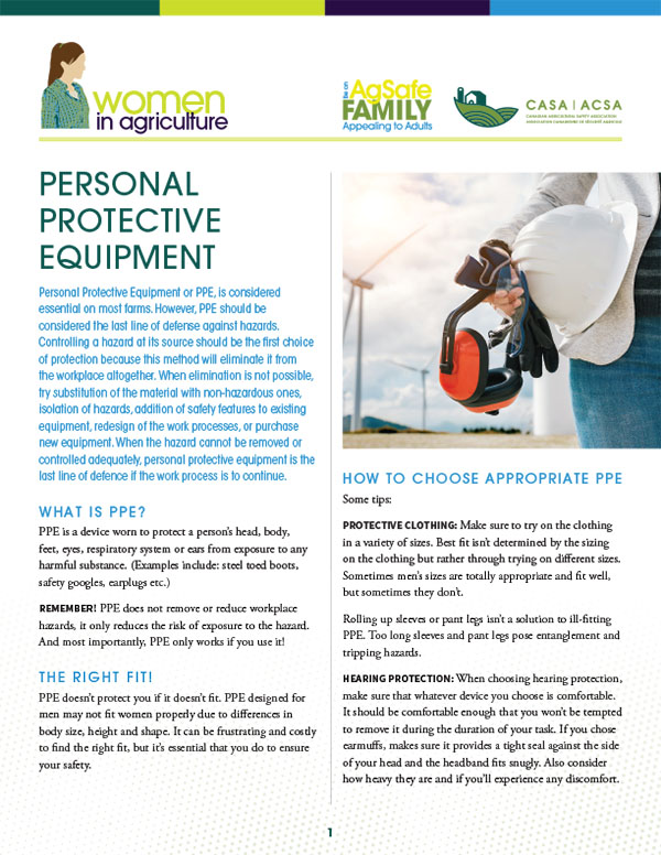 Women In Agriculture – Personal Protective Equipment