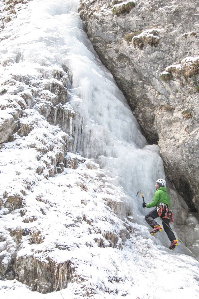 Cascata del Gelato, a short WI3 perfect for warming up or indeed your first cascade ice lead.