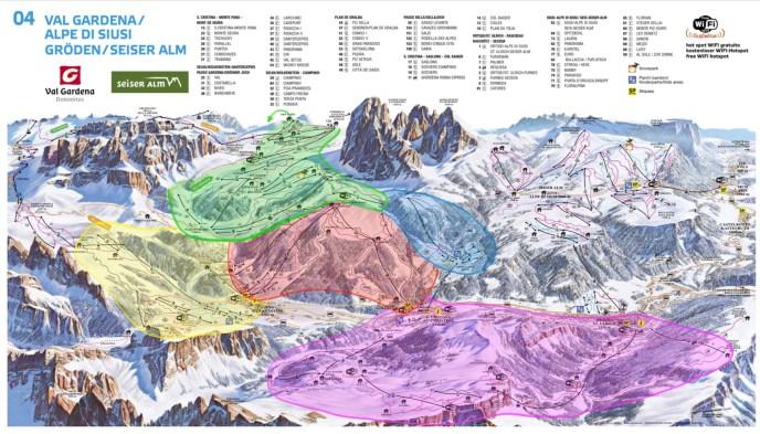 Green - Sella Pass and Plan di Gralba Blue - Monte Pana Red - Ciampinoi and Selva di Gardena Purple - Seceda Yellow - Dantercepies and Passo Gardena