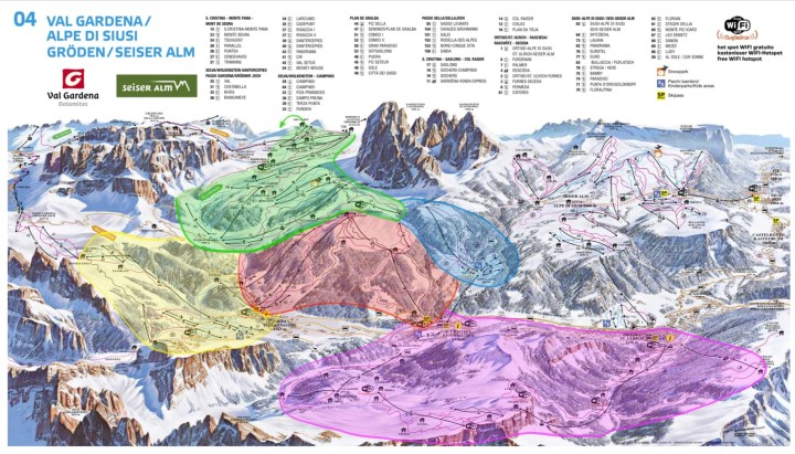 Green - Sella Pass and Plan di Gralba Blue - Monte Pana Red - Ciampinoi and Selva di Gardena Purple - Seceda Yellow - Dantercepies and Passo Gardena