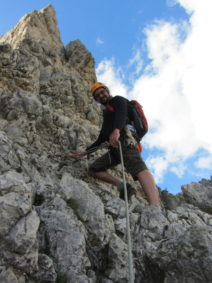 Shortly before reaching the Arête, at one of the numerous beefy ring bolts enroute.