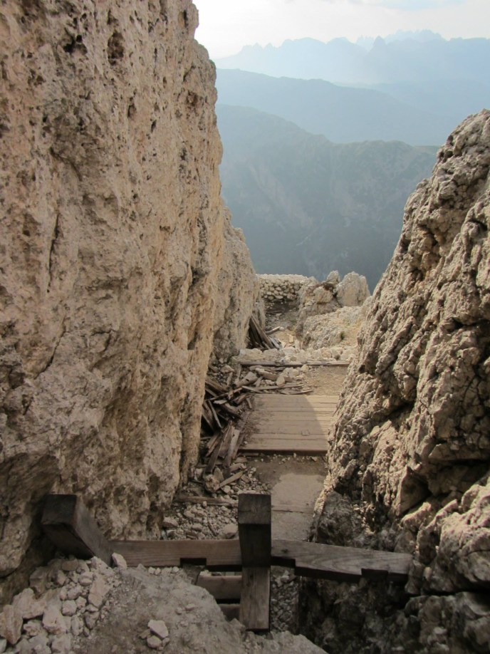 Some of the trenches with their wooden ladders. Although classed a Via Ferrata, there is very little one could call climbing, bar a few ladders.