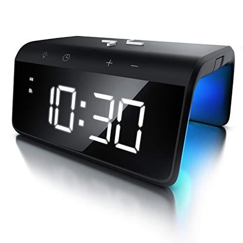 sveglia digitale da comodino,sveglia da comodino con 40 suonerie opzionali,temperatura e data,led grande display orologio digitale da tavolo per camera da letto,studio,ufficio. Sveglie Digitali Da Comodino Moderne Casa E Luce
