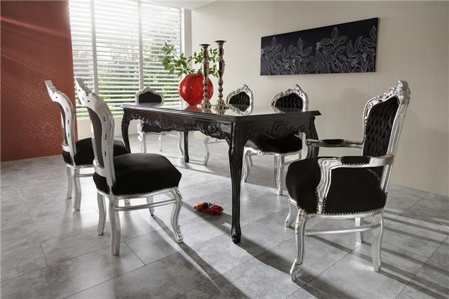 Casa Padrino baroque ensembles de diner Noir  Argent