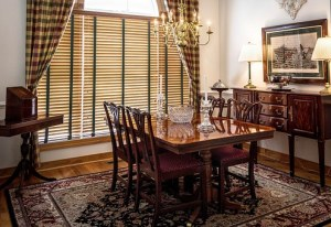 Dining room window with blinds