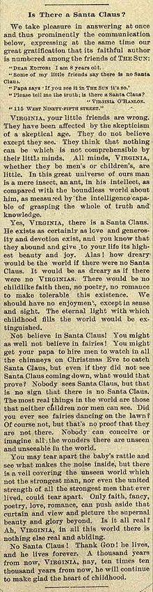 Sì Virginia, Babbo Natale esiste
