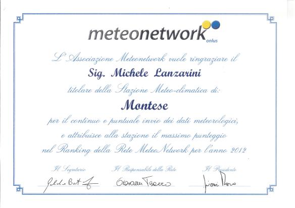 attestato meteonetwork 2012