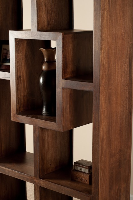 Soho Dark Mango Tall Open BookcaseShelving Unit Casa