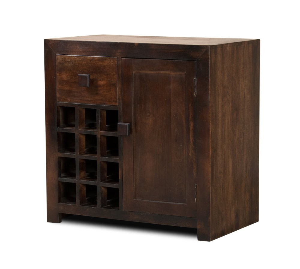 Dakota Dark Mango Wine Cabinet  Casa Bella Furniture UK