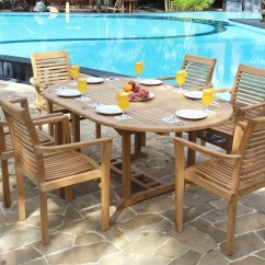 Teak Table And Chairs Garden Folding Metal Devon 120 To 170cm Extending Oval