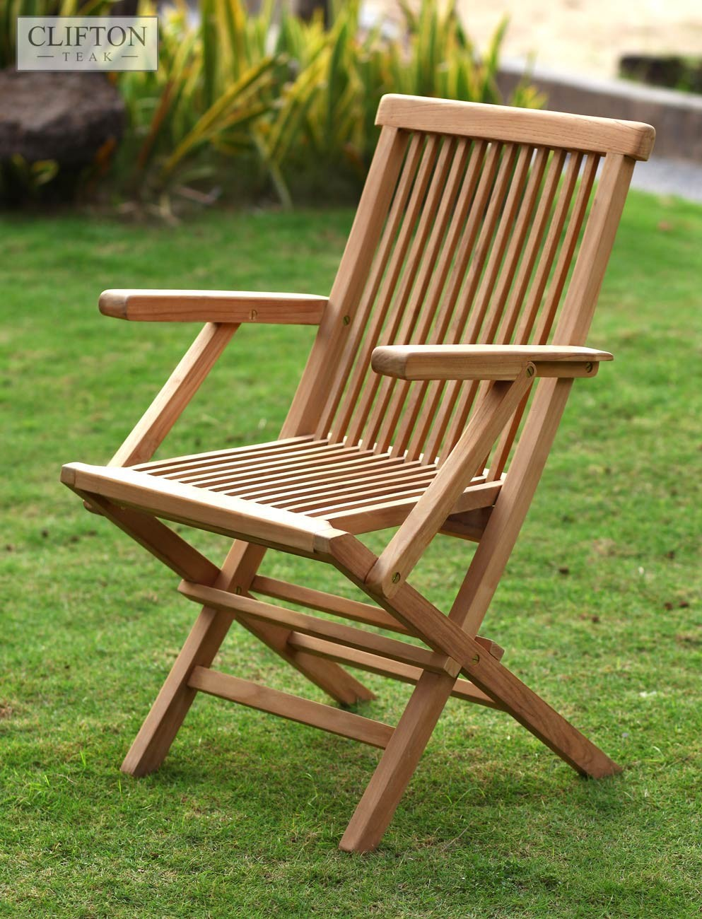folding chair uk wood beach light coloured teak armchair folds flat for storage casa wiltshire 1