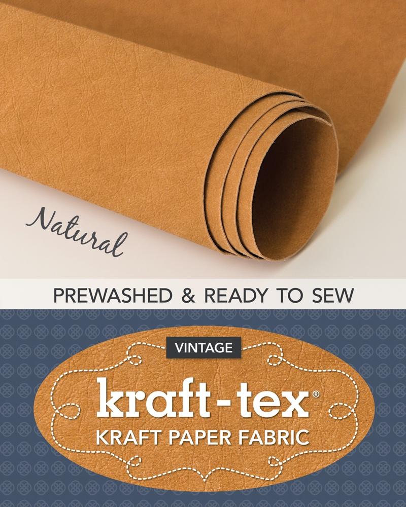 tissu papier simili cuir kraft tex naturel prelave