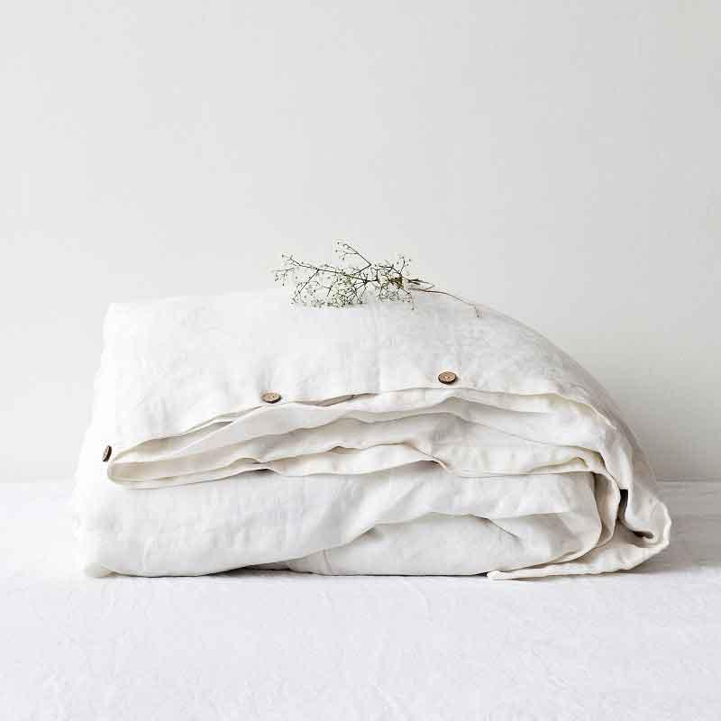 Linnen dekbedovertrek wit - Off White - merk Linen Tales - online te koop bij Casa Comodo
