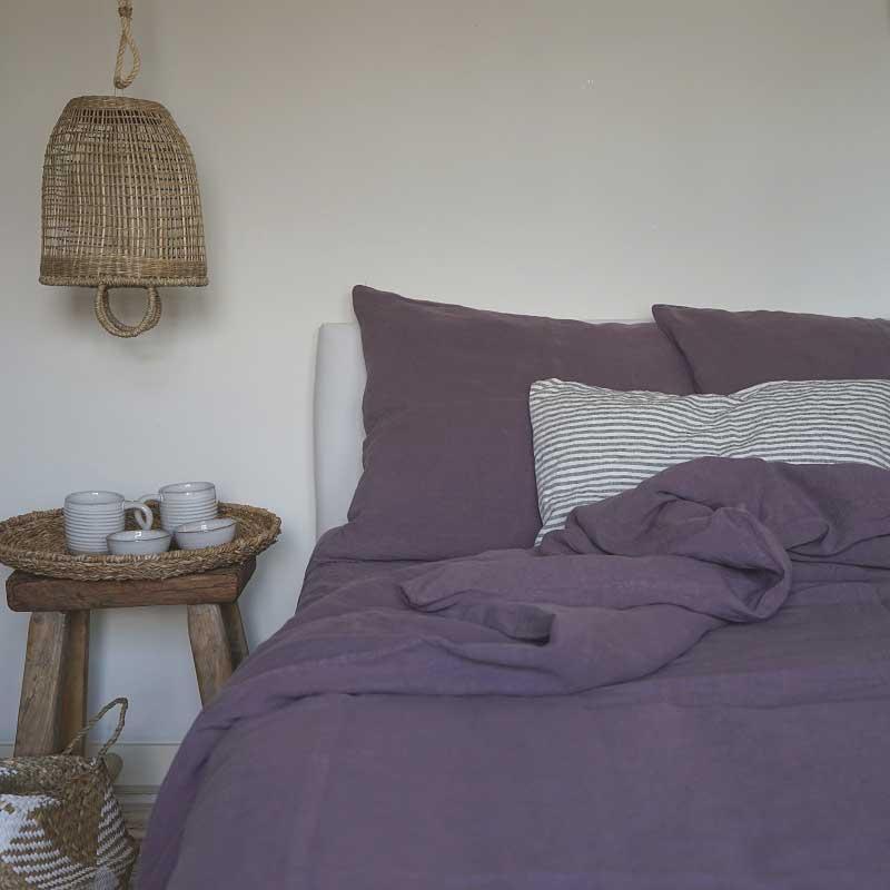 Linnen dekbedovertrek paars - Black Purple