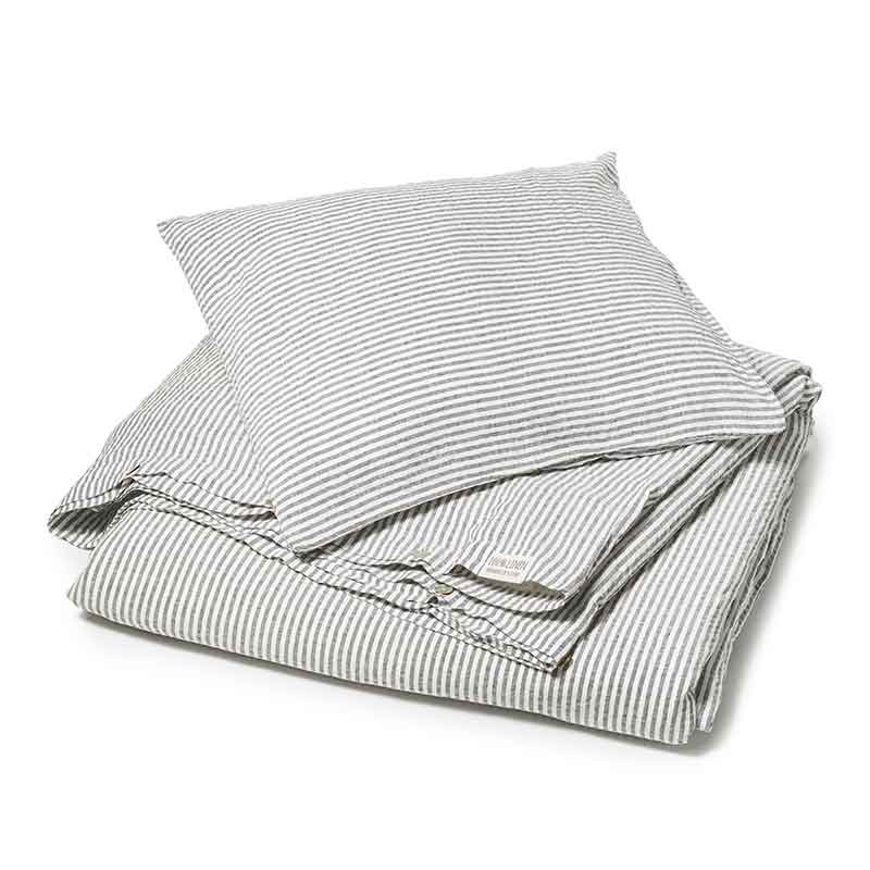 Donkergrijs -wit gestreept linnen dekbedovertrek Striped Charcoal - Casa Homefashion