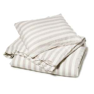Zandkleurig-wit breed gestreept linnen dekbedovertrek Stripe Naturel - Casa Homefashion