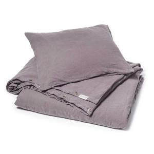 Donkerpaars stonewashed linnen dekbedovertrek Black Purple - merk Casa Homefashion - online te koop bij Casa Comodo
