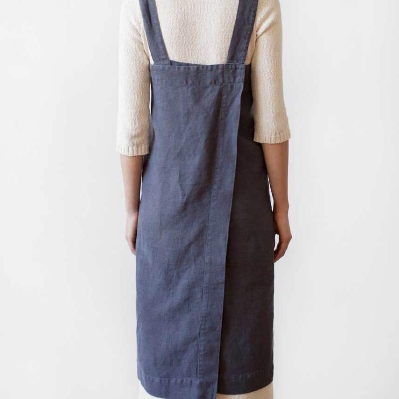 Antraciet linnen pinafore schort - donkergrijs - Casa Comodo