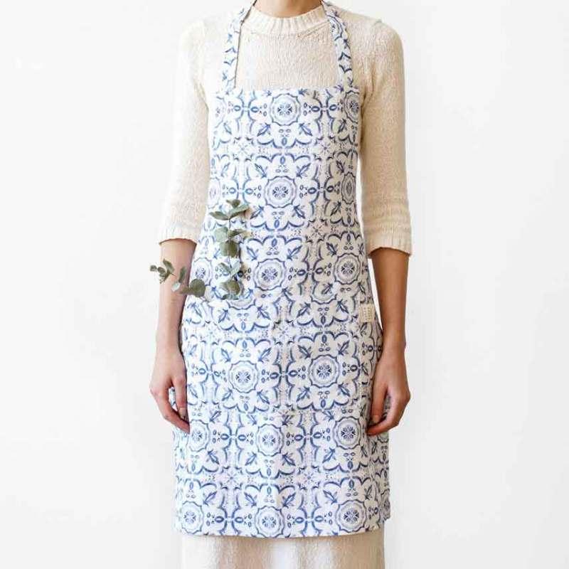 linnen keukenschort Mozaiek - blauw/wit - Casa Comodo