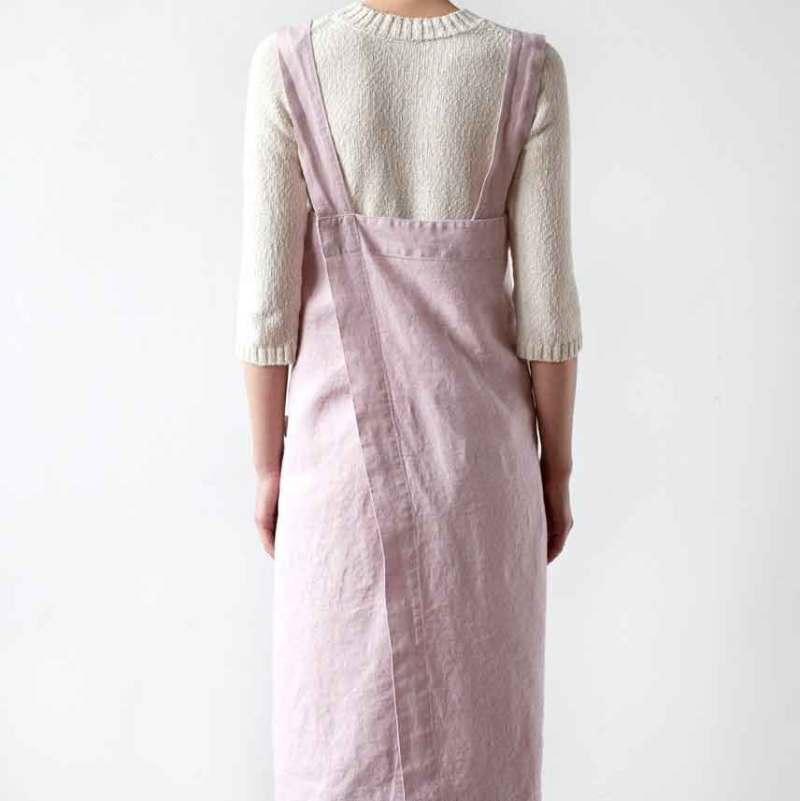 Roze linnen pinafore schort - Casa Comodo