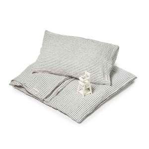 Donkergrijs gestreept linnen kinderdekbedovertrek Stripe Charcoal - Casa Homefashion
