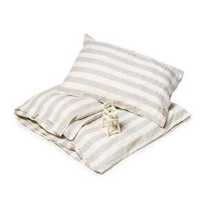 Zandkleurig breed gestreept linnen kinderdekbedovertrek - Casa Homefashion