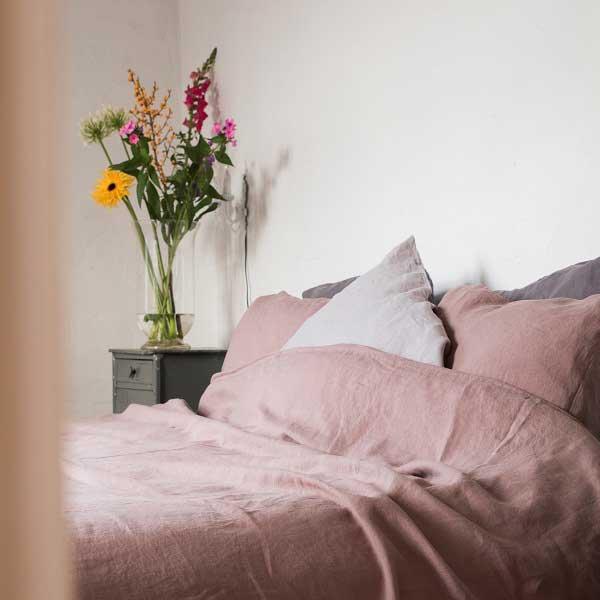 linnen dekbedovertrek Vintage Roze - oud roze - online bij Casa Comodo