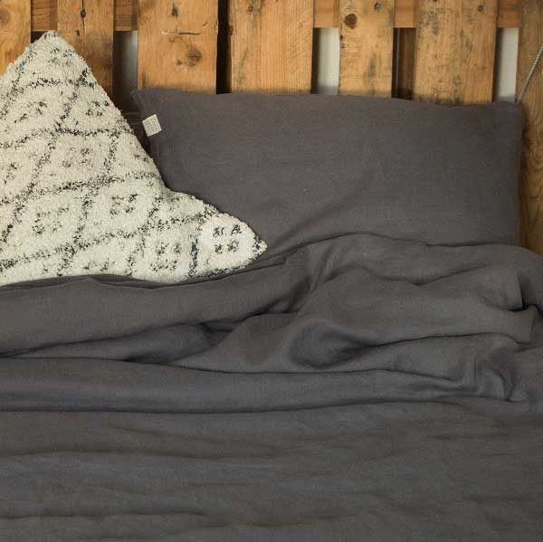 linnen dekbedovertrek MIneral Grey - grijs - online bij Casa Comodo