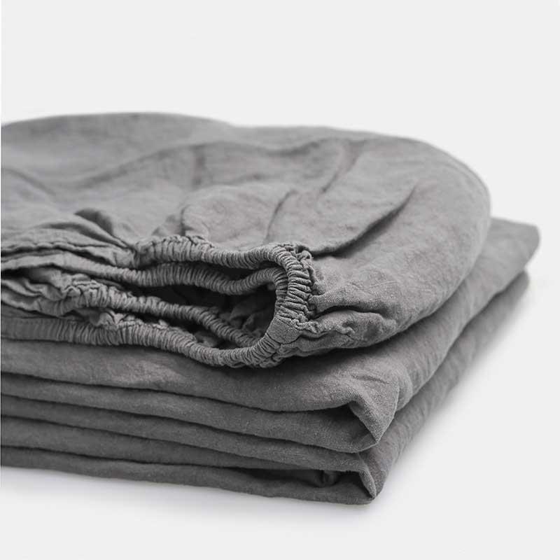 Linnen hoeslaken - onderkaken grijs