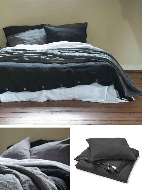 LInnen dekbedovertrek Midnight Black – Casa Comodo