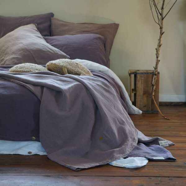 Linen bedding pink and purple